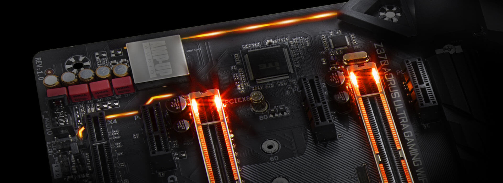 Z370 Aorus Ultra Gaming Wifi Op Power Saver Circuit Diagram Jumbo Intelligent Multi Light Zones Are Equipped With High Brightness Rgb Leds Namely The Memory Audio Pci Express And Swappable Overlay For Accent Led