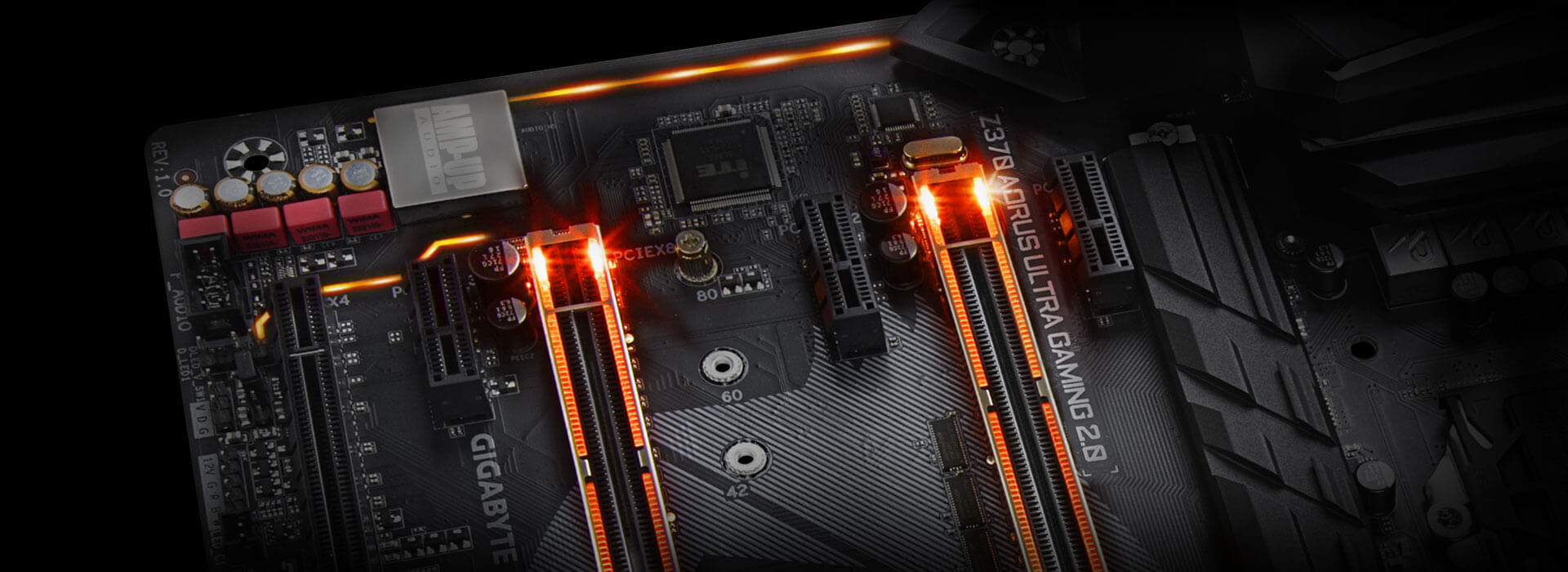 Z370 Aorus Ultra Gaming 20 Op Power Saver Circuit Diagram Jumbo Intelligent Multi Light Zones Are Equipped With High Brightness Rgb Leds Namely The Memory Audio Pci Express And Swappable Overlay For Accent Led