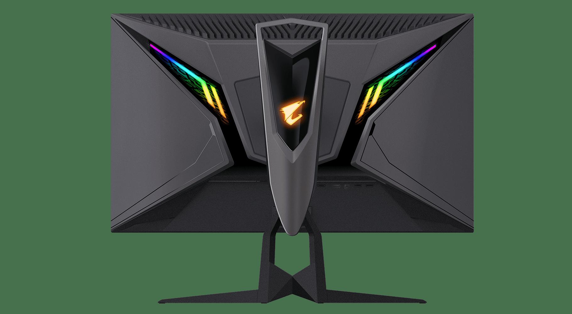 Aorus AD27QD Hinterseite mit LEDs
