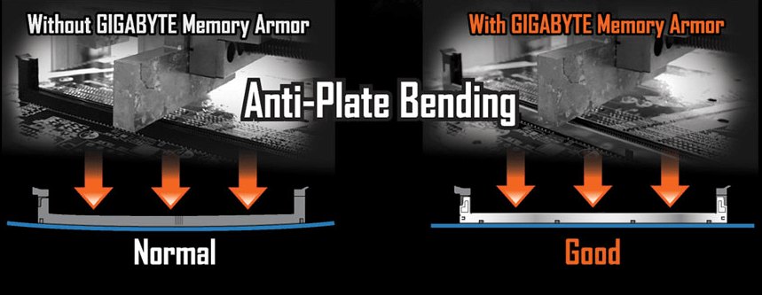 Comparison of PCB Bending With And Without GIGABYTE Memory Armor