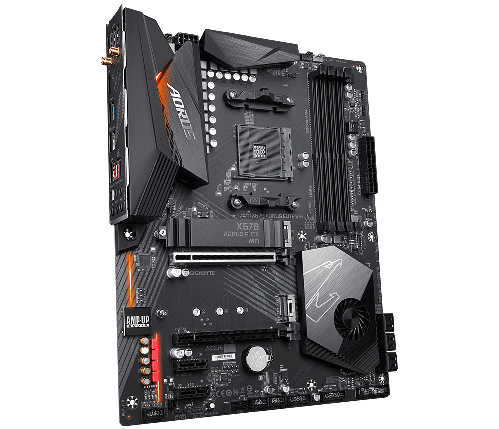 Image result for Gigabyte X570 AORUS Elite WiFi (AMD Ryzen 3000/X570/ATX/PCIe4.0/DDR4/Intel Dual Band 802.11AC WiFi/Front USB Type-C/RGB Fusion 2.0/M.2 Thermal Guard/Gaming Motherboard)