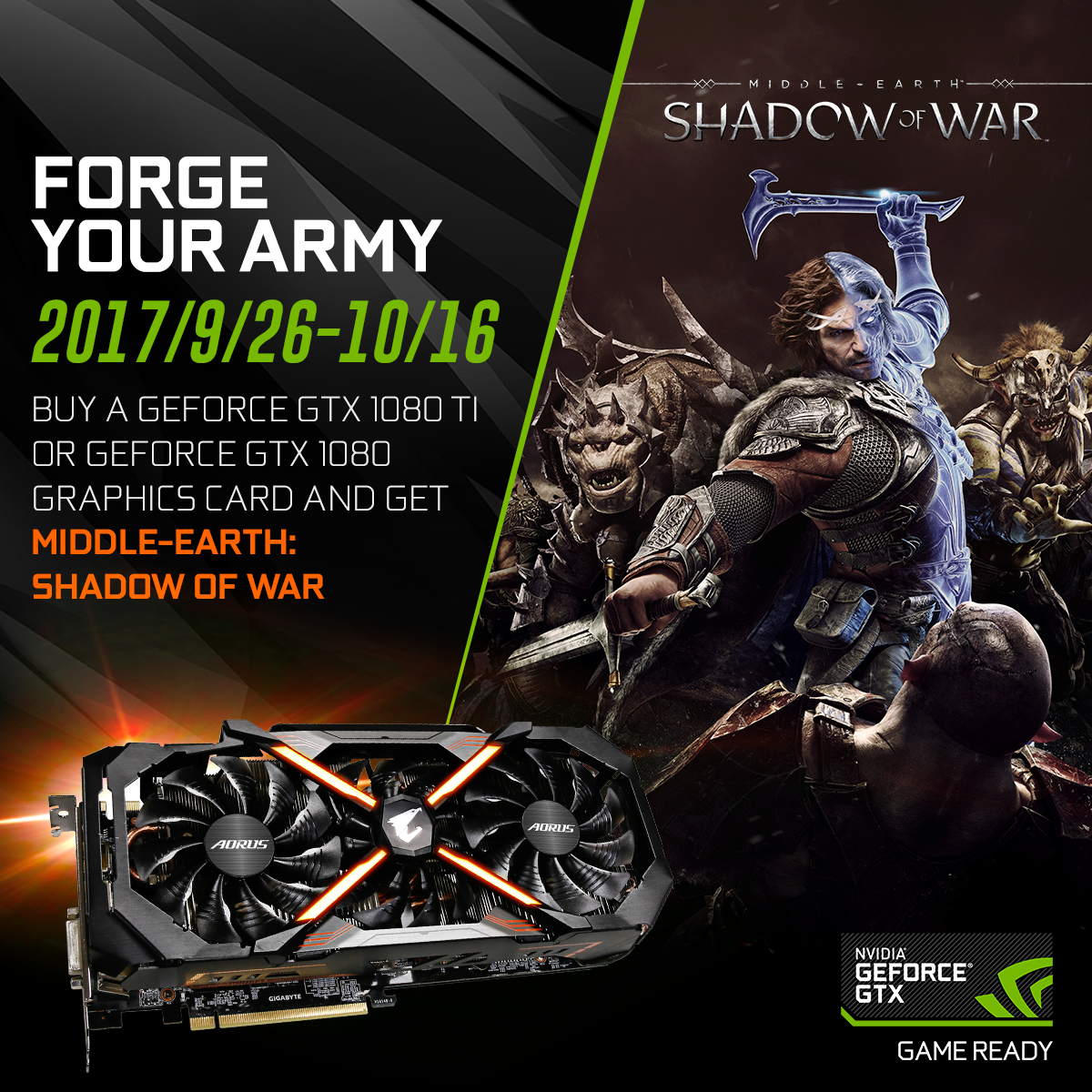 Buy a GeForce GTX 1080 Ti or GeForce GTX 1080 Graphics Card and get Middle-earth: Shadow of War