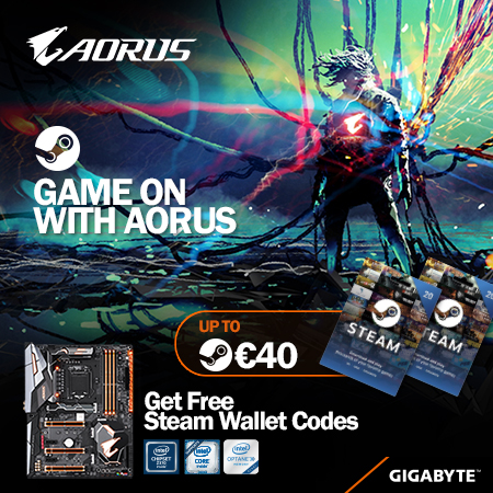 Buy the latest GIGABYTE AORUS Z370 motherboards get up to € 40 FREE STEAM Wallet codes !