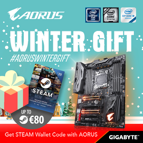 Buy the latest GIGABYTE AORUS X299 motherboards get up to €80 FREE STEAM wallet codes this winter!