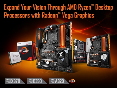 GIGABYTE AM4 Motherboards Add Support For AMD Ryzen™ Desktop Processors with Radeon™ Vega Graphics