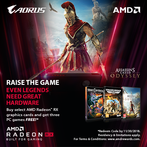 Buy GIGABYTE AMD Radeon RX Vega, RX580, or RX570 graphics card and get THREE games FREE!