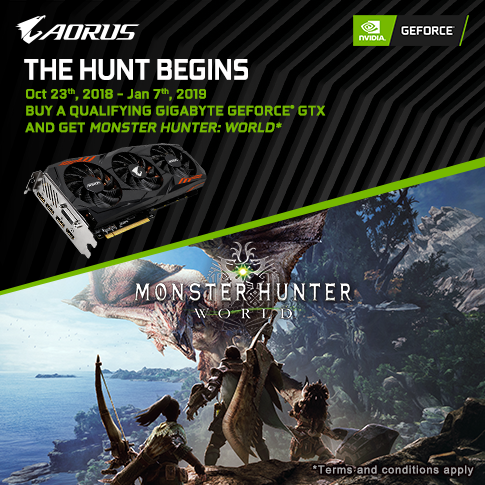 【APAC】Buy GIGABYTE NVIDIA GeForce GTX 1060 , GeForce GTX 1070, 1070 Ti graphics card and get  Monster Hunter World game for FREE!